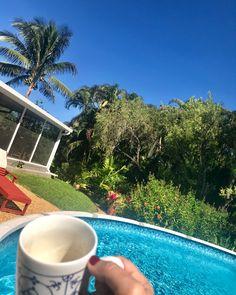 """#CafeConLeche en un día perfecto en casita. Donde el verdes es mas verde y el azul de hoy... 😮 un cielo #azul de película! Cada día que pasa mas me gusta este habitat campestre. 🌳🌿☘️🌱🌵🍃🌺🌸🌼🌿🍃🌱 ... . . 🌿🎼 """"En el campo la Vida es mas sabrosa""""🌿 . 🍀At home #LaCabrera5K 🍀  SUN 4.MAR.2018 .  #AngelicaBehm #MiamiLovers  #ConectandoEstiloDeVida"""