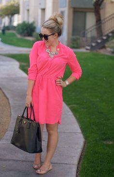 light hot pink shirtdress