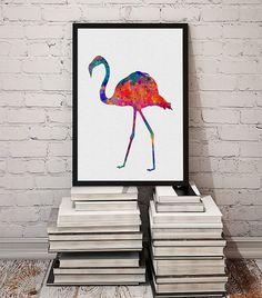 Flamingo Bird Watercolor Wall Art Fine Art Poster by MimiPrints