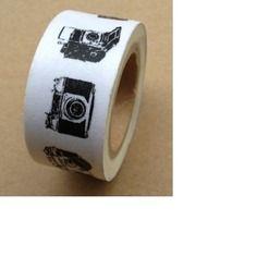 Ruban washi tape blanc  ♥ 20mm ♥ 10 metres ♥ blanc & noir