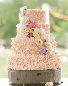 The good thing about ruffles is they are extremely cute and its that much more frosting to indulge in! See more of these steal worthy Vintage Reception Ideas here captured by Sunny 16 Photos with cake by Walton's Fancy and Staple. Different Wedding Cakes, Black Wedding Cakes, Pretty Cakes, Beautiful Cakes, Amazing Cakes, Cake Photography, Heart Photography, Wedding Cake Inspiration, Wedding Ideas