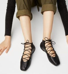 Radical Yes 'Moon Dance' - Black Leather Lace Up Ballet Flat // PRE-ORDER FOR DELIVERY FROM FEB 26TH