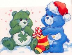Care Bears: Good Luck Bear & Bedtime Bear Stuffing a Stocking - Modern Care Bears Vintage, Christmas Cartoons, Rainbow Brite, Christmas Pictures, Christmas Ideas, Christmas Tree, Bear Art, Good Luck, Cute Images