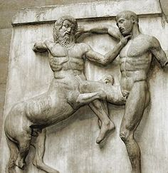 Metope. This is a rectangular architectural element that fills the space between two triglyphs in a Doric frieze. They may be carved from a single block with the triglyphs or inserted into slots between. This is one of the 92 metopes of the Parthenon marbles and depicts the battle between the Centaurs and the Lapiths.