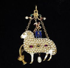 Enamelled gold pendant in the form of the Agnus Dei, set with a table-cut diamond and rubies and hung with pearls, Germany, about 1580-1600.