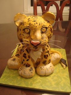 baby cheetah cake images | cheetah for my son! i use: 2 X 6inches rond cakes and half a bowl cake ...