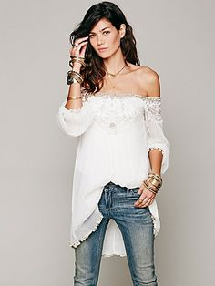 Free People Embellished Off the Shoulder Tunic