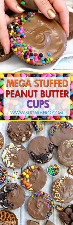 Mega Stuffed Peanut Butter Cups - jumbo homemade peanut butter cups, filled with goodies like candy, cookies, pretzels, or potato chips!   From SugarHero.com