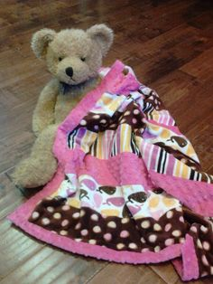 polka dot pink and brown minky blanket crib size baby blanket hand made and ready to ship by Passion4Expression on Etsy