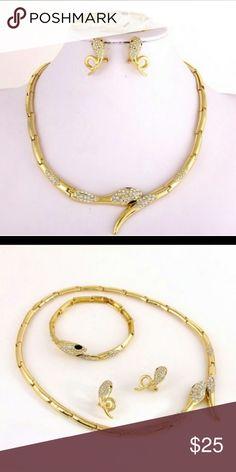 Snake choker set, earrings, bracelet!! Gold plated rhinestone eye's Blackstones!!! Jewelry Necklaces