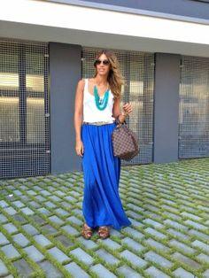 MisstrendyBarcelona Outfit  urbano azul klein Falda Larga  Verano 2012. Combinar Falda Azul Klein Zara, Joyas-Bisutería Azul turquesa/aguamarina H