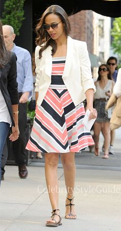 Banana Republic Milly Collection Coral Multi Stripe Fit and Flare Dress & Yves Saint Laurent Sandals
