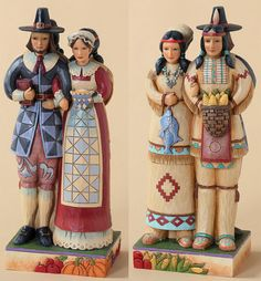 Jim Shore Heartwood Creek Thanksgiving Collection Two-sided Indians and Pilgrims 4027801