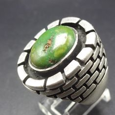 HEAVY Vintage NAVAJO Sterling Silver & TURQUOISE Signet RING, size 10.25, 25.8g