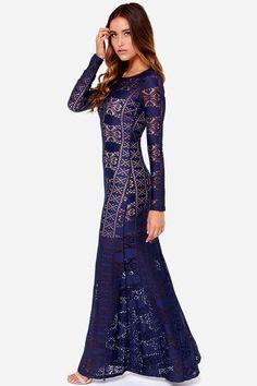 LULUS Exclusive Cut Above the Rest Navy Blue Lace Maxi Dress at Lulus.com!