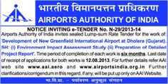 Airport Authority of india invited tender for Dholera International Airport