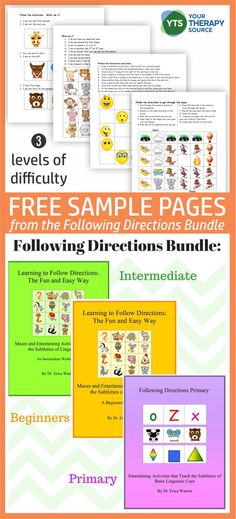 Do you work with students who need to practice following oral and written directions?  This FREEBIE includes 4 sample activities from the Following Directions Bundle. Visual Perceptual Activities, Pediatric Occupational Therapy, Following Directions, Executive Functioning, Do You Work, Free Activities, Speech And Language, Speech Therapy, Pediatrics