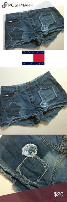 Tommy Hilfiger Patchy Shorts These shorts are so super adorable and trendy. The cuffs are sewn in place to assure no more fraying. The worn look of the shorts was intentional by the designer. Size 5. Worn 1 time. Amazing condition!  Enjoy! Tommy Hilfiger Shorts Jean Shorts