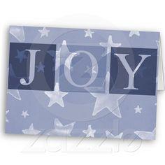 Joy Purple Stars Christmas Card