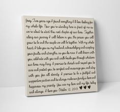 Wedding Vow Art Gift For Him Or Her By Thestandardcanvas On Etsy 65 00