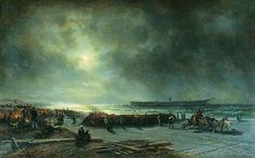 """Гибель фрегата """"Александр Невский"""" (Вид ночью). 1868 год. 1868 - Боголюбов Алексей Петрович"""