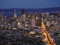 san francisco | san francisco skyline from twin peaks at dusk wallpaper