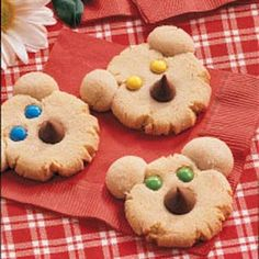 "Beary Cute Cookies ~ These cheery cookie cubs, served at my teddy bear picnic, will delight ""kids"" of all ages! I like to make fun foods but don't care to spend a whole lot of time fussing. So the idea of using candy for the bears' features was right up my alley."