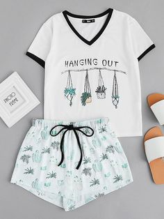 Graphic Ringer Tee And Drawstring Shorts Pajama Set Cute Pajamas adf16b6cd