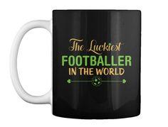 Luckiest Footballer Women's T Shirt Black Mug Front