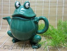 Ceramic Frog Teapot, Ganz, Toad, Green, Collectible, Vintage
