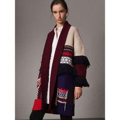 Fringed Wool Cashmere Patchwork Cardigan Coat