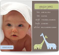 Baby Giraffe Birth Announcement #adorable #newborn #idea #magnet