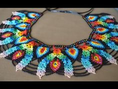 A beaded necklace. Part 1 of Beadwork. Seed Bead Patterns, Beaded Jewelry Patterns, Beading Patterns, Col Crochet, Crochet Flower Tutorial, Beaded Crafts, Necklace Tutorial, Beaded Collar, Beading Tutorials