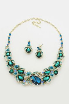 Crystal Magnolia Necklace in Teal Emerald