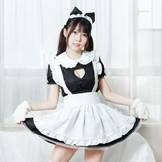 Maid Outfit, Maid Dress, Anime Outfits, Girl Outfits, Cute Outfits, Sexy School Girl Costume, Harajuku Fashion, Black Heart, Cosplay Girls