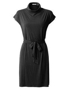 Womens Stretchy Short Sleeve Turtleneck Midi Tunic Dress with Belt Mock Neck, Dresses For Work, Women's Dresses, Bleach, High Neck Dress, Turtle Neck, Feminine, Tunic, Stitching
