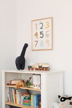 Dinosaur themed boy's room: A peek inside Patrick's big boy room. Stylish number artwork for kids room. Quirky Decor, Bookshelves Kids, Boys Bedroom Decor, Kids Artwork, Fashion Room, Kid Spaces, Room Themes, Boy Room, Playroom