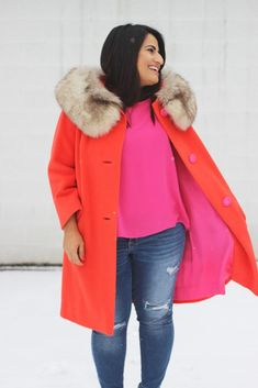 12 Months of Thrifting: How to Wear and Thrift a Pop of Color Pink Suit, Find Color, Season Colors, Red And Pink, 12 Months, Thrifting, Color Pop, Vibrant, Vintage Fashion