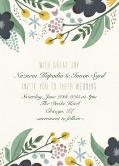 Floral Wedding Invitation Set Photo Cards