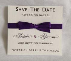 Cadbury purple Classic save the date card. Available in any colour to match the theme and style of your wedding. #cadburypurplesavethedate