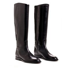 Riding Boot Black Leather ($865) ❤ liked on Polyvore featuring shoes, boots, genuine leather riding boots, leather equestrian boots, kohl boots, black riding boots y real leather boots