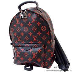 Buy and sell authentic handbags including the Louis Vuitton Backpack Palm  Springs Monogram Infrarouge Mini Black Red in Canvas c2653b4cff972