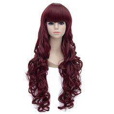 Amybria Damen 80cm Dark Red Lange Lockig Hitzebestandigkeit Partei-Kostum Anime Cosplay Perucke   Your #1 Source for Beauty Products