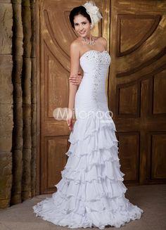 Satin und Chiffon Mermaid- Brautkleid mit Herz-Ausschnitt und Perlenstickerei in Weiß mit Schleppe - Milanoo.com