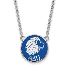 Brand New Sterling Silver and blue enamel Alpha Delta Pi Lion Necklace