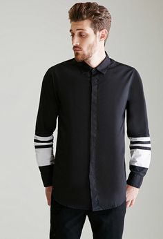 Ensemble-Club Contrast-Paneled Button-Down Shirt