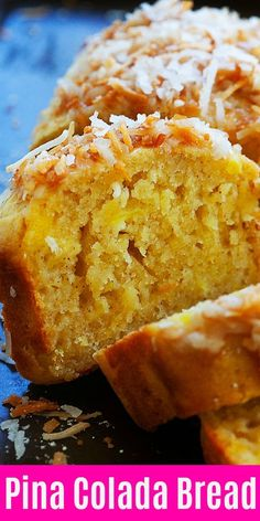 --- advertisements --- When you make this Pina Colada bread, you'll be taking a trip to the tropics without leaving your kitchen! Full recipe below. RECIPE HERE —-> Pina Colada Quick Bread Recipe --- advertisements --- Köstliche Desserts, Delicious Desserts, Dessert Recipes, Yummy Food, Quick Bread Recipes, Sweet Recipes, Baking Recipes, Filet Mignon Chorizo, Pan Rapido