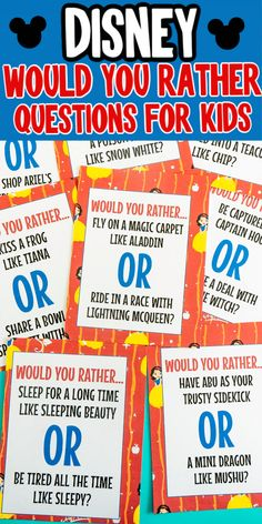 Printable Disney Would You Rather Questions for Kids - Play Party Plan - - Have you ever played the would you rather game? These Disney would you rather questions will have everyone giggling as you choose between two tough choices! Would You Rather Kids, Would You Rather Questions, This Or That Questions, Kids Questions, Game Of Things Questions, Fun Question Games, Disney Classroom, Classroom Ideas, Sandwiches