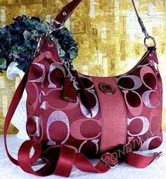 Coach Red Silver Shimmer Signature Shoulder Stripe Hobo Crossbody Bag Purse | eBay