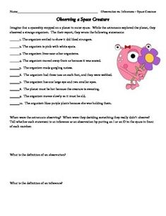 Observation Inference Interactive Notebook Activity With